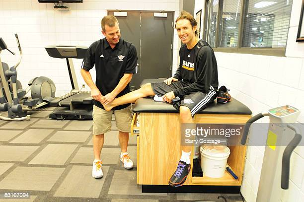 Steve Nash of the Phoenix Suns gets taped for practice during NBA TV's Real Training Camp visit to the Phoenix Suns on October 7 at US Airways Center...