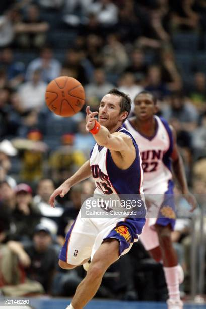 Steve Nash of the Phoenix Suns goes for the ball during a preseason game with Maccabi Elite Tel Aviv as part of the NBA Europe Live Tour on October...