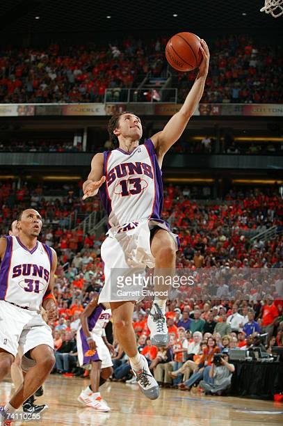 Steve Nash of the Phoenix Suns goes strong to the hoop against the San Antonio Spurs in Game Two of the Western Conference Semifinals during the 2007...