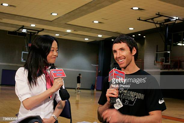 Steve Nash of the Phoenix Suns is interviewed by NBAcom/China correspondent Hongmei Shi on March 24 2007 at US Airways Center in Phoenix Arizona NOTE...