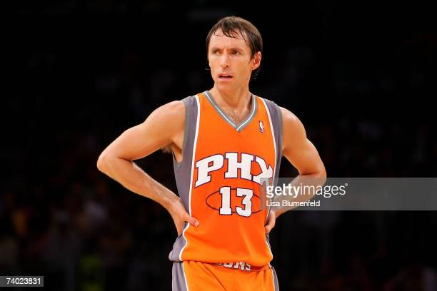 Steve Nash of the Phoenix Suns looks across the court in Game Four of the Western Conference Quarterfinals against the Los Angeles Lakers during the...