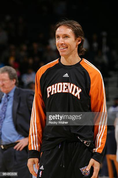 Steve Nash of the Phoenix Suns looks on with a smile during the game against the Golden State Warriors at Oracle Arena on March 22 2010 in Oakland...