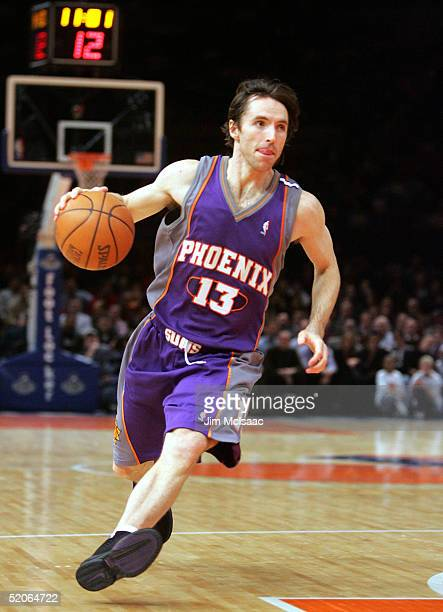 Steve Nash of the Phoenix Suns looks to make a pass against the New York Knicks on January 25 2005 at Madison Square Garden in New York City The Suns...