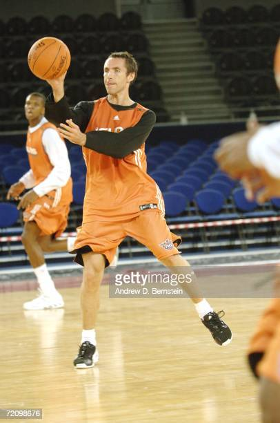 Steve Nash of the Phoenix Suns looks to pass during practice at Palalottomatica during the NBA Europe Live Tour 2006 on October 5, 2006 in Rome,...