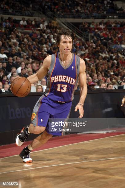 Steve Nash of the Phoenix Suns moves the ball against the Detroit Pistons during the game at the Palace of Auburn Hills on February 8, 2009 in Auburn...