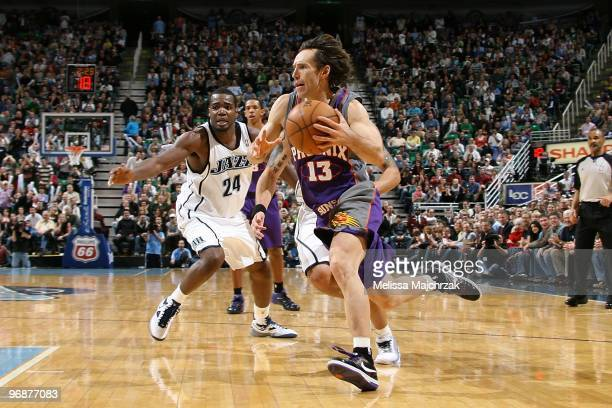 Steve Nash of the Phoenix Suns moves the ball against the Utah Jazz during the game at EnergySolutions Arena on January 25 2010 in Salt Lake City...