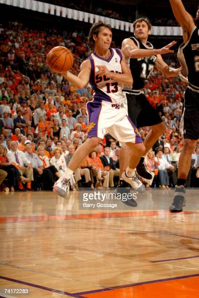 Steve Nash of the Phoenix Suns passes against the San Antonio Spurs in Game Five of the Western Conference Semifinals during the 2007 NBA Playoffs at...