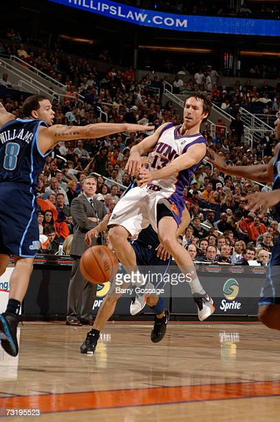 Steve Nash of the Phoenix Suns passes against the Utah Jazz in an NBA game played on February 3 at U.S. Airways Center in Phoenix, Arizona. NOTE TO...