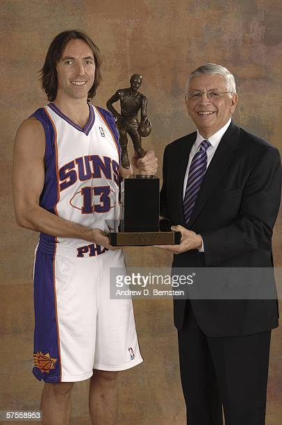Steve Nash of the Phoenix Suns poses with NBA Commissioner David Stern after winning the NBA Most Valuable Player Award for the second year in a row...