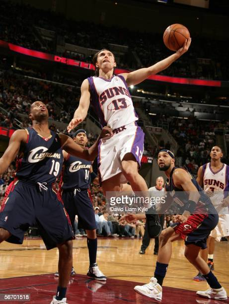 Steve Nash of the Phoenix Suns puts up a layup past Damon Jones of the Cleveland Cavaliers on January 29 2006 at The Quicken Loans Arena in Cleveland...