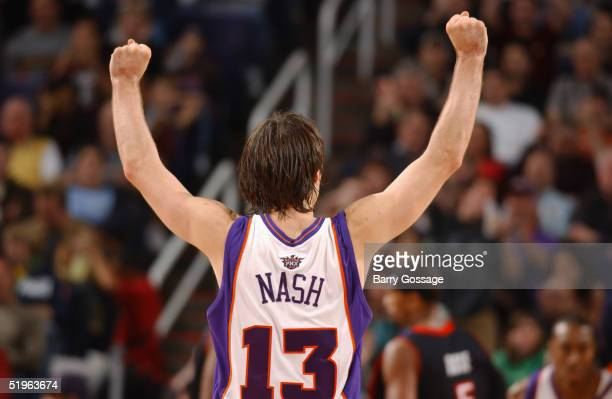 Steve Nash of the Phoenix Suns reacts against the Toronto Raptors on December 26 2004 at America West Arena in Phoenix Arizona The Suns won 10694...