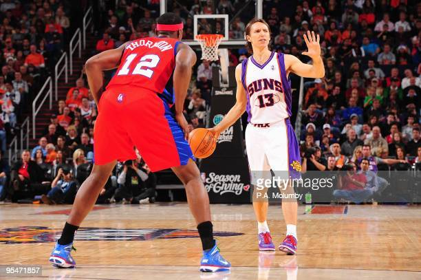Steve Nash of the Phoenix Suns sets the play against Al Thornton of the Los Angeles Clippers during the game on December 25 2009 at US Airways Center...