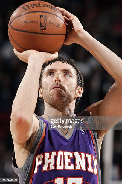 Steve Nash of the Phoenix Suns shoots a free throw during the game against the Portland Trail Blazers at the Rose Garden Arena on March 4 2008 in...