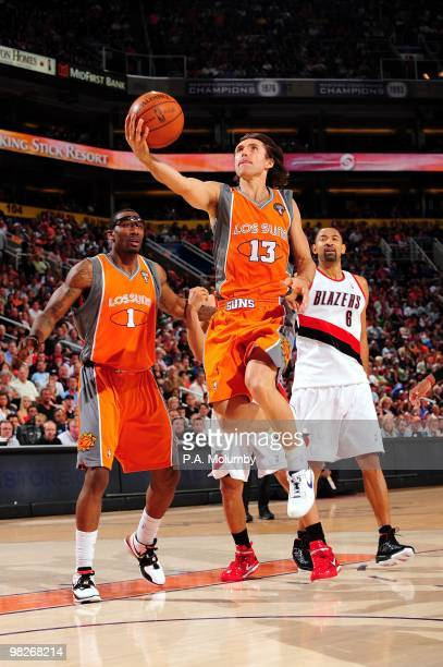 Steve Nash of the Phoenix Suns shoots a layup during the game against the Portland Trail Blazers at US Airways Center on March 21 2010 in Phoenix...