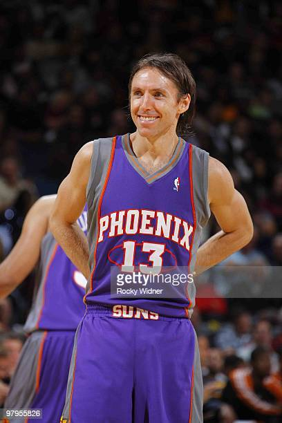 Steve Nash of the Phoenix Suns smiles before game action against the Golden State Warriors on March 22 2010 at Oracle Arena in Oakland California...