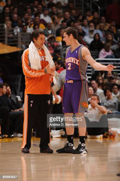 Steve Nash of the Phoenix Suns speaks with teammate Goran Dragic during a break in the action of their game against the Los Angeles Lakers at Staples...