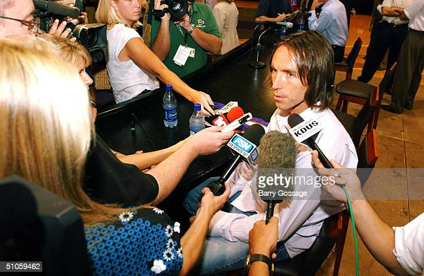 Steve Nash of the Phoenix Suns speaks with the media following a press conference to announce his signing to a freeagent contract with the Suns July...