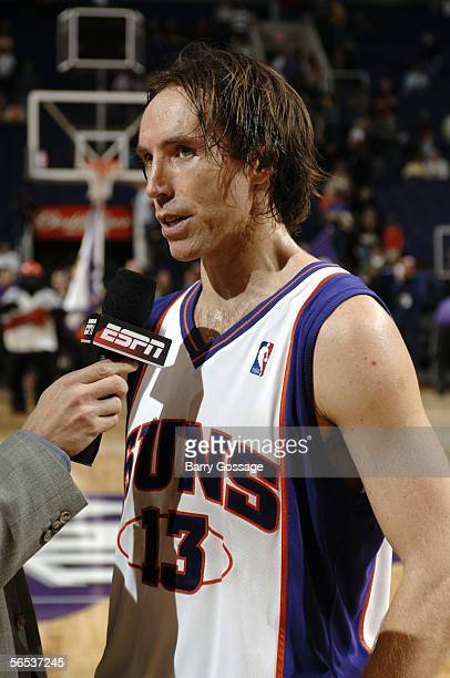 Steve Nash of the Phoenix Suns talks with the media during a game against the New Jersey Nets at America West Arena on November 25 2005 in Phoenix...