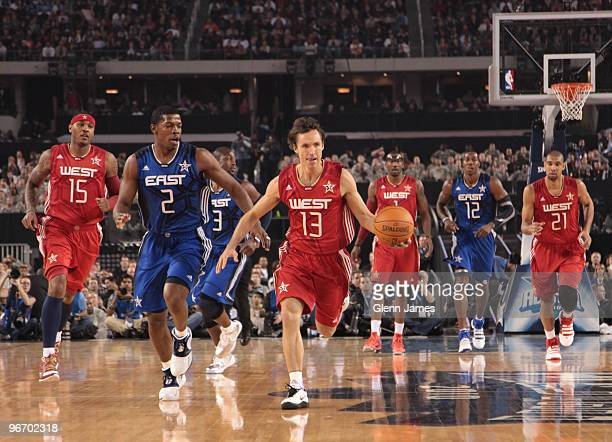 Steve Nash of the Western Conference leads the break against the Eastern Conference during the NBA AllStar Game as part of the 2010 NBA AllStar...
