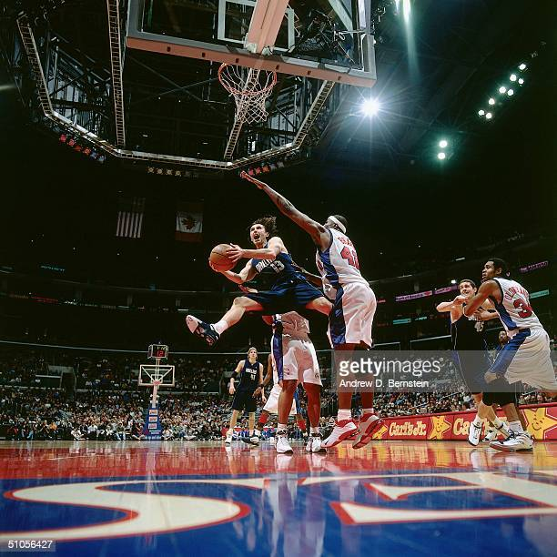 Steve Nash#13 of the Dallas Mavericks drives to the basket against the Los Angeles Clippers circa 2004 at the Staples Center in Los Angeles...