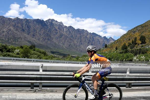 Steve Nicholls of Napier Tank Guy/Bikebox Rentals makes this way over the bridge towards Frankton passing the Remarkables during stage 3 from...