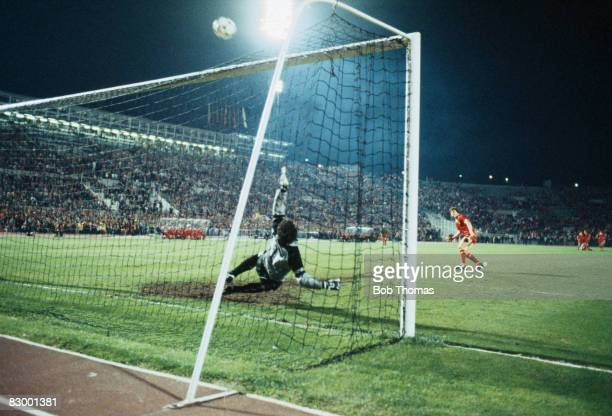Steve Nicol shoots over the bar to miss Liverpool's first penalty during the shootout to decide the European Cup Final between Roma and Liverpool at...