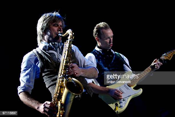 Steve Norman and Gary Kemp of Spandau Ballet performs at the Belgrade Arena on February 26 2010 in Belgrade Serbia