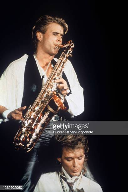 Steve Norman and Martin Kemp of Spandau Ballet performing on stage during their 'Parade' tour at Wembley Arena in London, England on December 8th,...