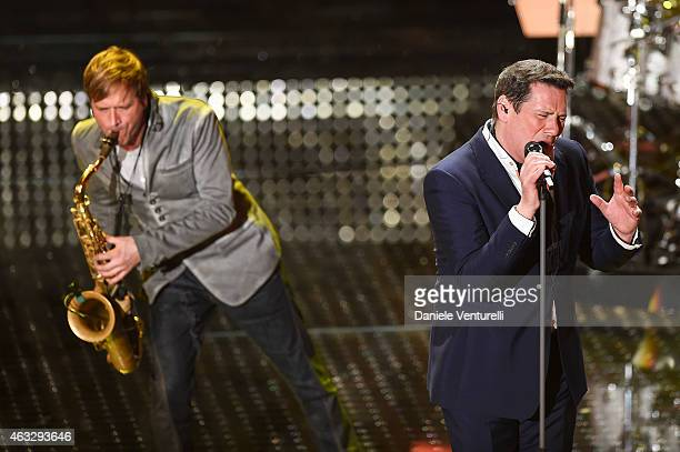 Steve Norman and Tony Hadley attend the thirth night of 65th Festival di Sanremo 2015 at Teatro Ariston on February 12 2015 in Sanremo Italy