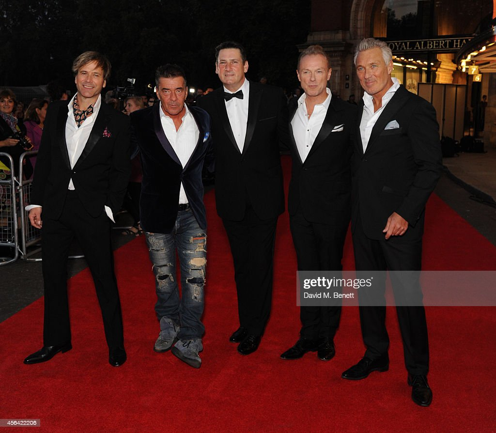 Steve Norman, John Keeble, Tony Hadley, Gary Kemp and Martin Kemp attend the World Premiere of 'Soul Boys Of The Western World' at Royal Albert Hall on September 30, 2014 in London, England.