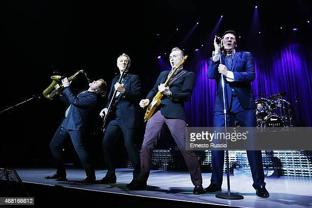 Steve Norman Martin Kemp Gary Kemp Tony Hadley and John Keeble perform during the Soulboys of the Western World Tour at Palalottomatica on March 30...