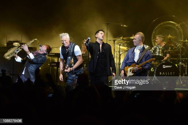 Steve Norman Martin Kemp Ross William Wild Gary Kemp and John Keeble of Spandau Ballet perform on stage at Eventim Apollo on October 29 2018 in...