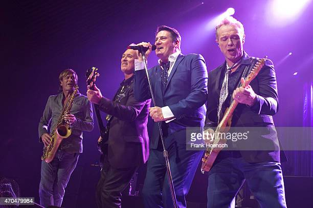 Steve Norman, Martin Kemp, Tony Hadley and Gary Kemp of the British band Spandau Ballet perform live during a concert at the Tempodrom on April 20,...