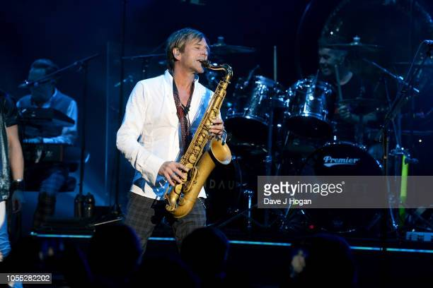 Steve Norman of Spandau Ballet performs on stage at Eventim Apollo on October 29, 2018 in London, England.