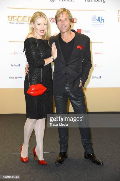 Steve Norman of the band Spandau Ballet and his girlfriend Sabrina Winter attend the Deutscher Radiopreis at Elbphilharmonie on September 7 2017 in...