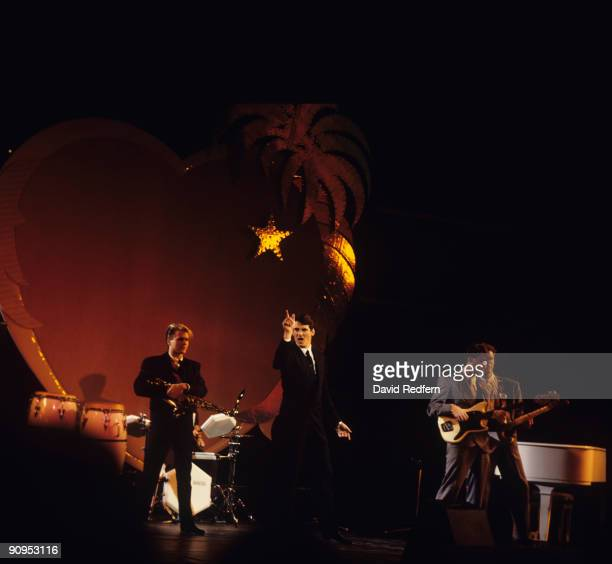 Steve Norman Tony Hadley Martin Kemp and Gary Kemp of Spandau Ballet perform on stage at the Midem Music Fair held in Cannes France in 1984