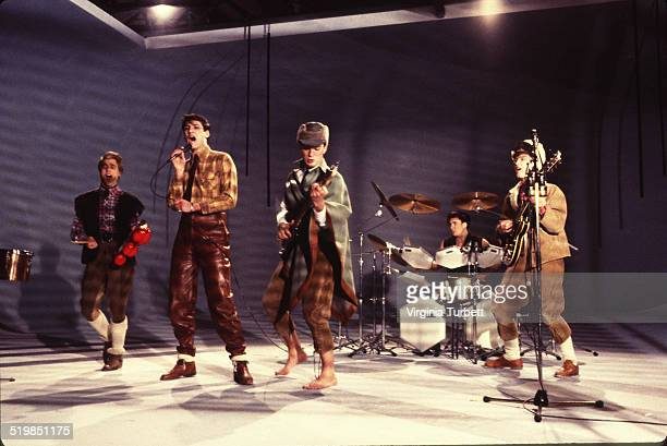 Steve Norman Tony Hadley Martin Kemp John Keeble Gary Kemp of Spandau Ballet during a video shoot for their single 'Instinction' 12th March 1982
