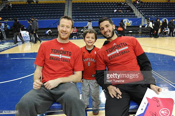 Steve Novak and Greivis Vasquez of the Toronto Raptors poses for pictures during the Toronto Raptors Fan Jam on February 9 2014 at the Air Canada...