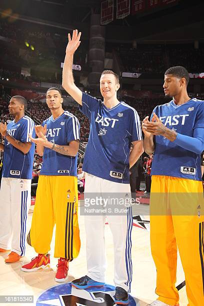 Steve Novak of Team East before State Farm AllStar Saturday Night of the 2013 NBA AllStar Weekend on February 16 2013 at the Toyota Center in Houston...