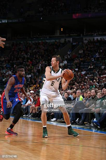Steve Novak of the Milwaukee Bucks handles the ball against the Detroit Pistons on February 28 2016 at the BMO Harris Bradley Center in Milwaukee...