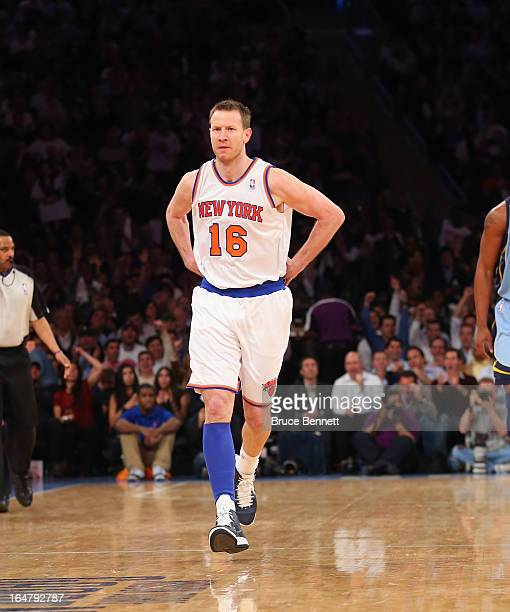 Steve Novak of the New York Knicks celebrates his three pointer in the second quarter against the Memphis Grizzlies at Madison Square Garden on March...