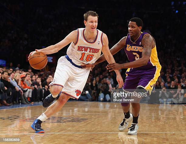 Steve Novak of the New York Knicks dribbles the ball against the Los Angeles Lakers at Madison Square Garden on December 13 2012 in New York City...