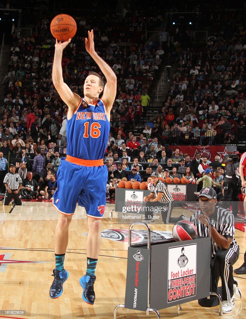 Steve Novak #16 of the New York Knicks during the 2013 Foot Locker Three-Point Contest on State Farm All-Star Saturday Night as part of the 2013 NBA All-Star Weekend on February 16, 2013 at the Toyota Center in Houston, Texas.