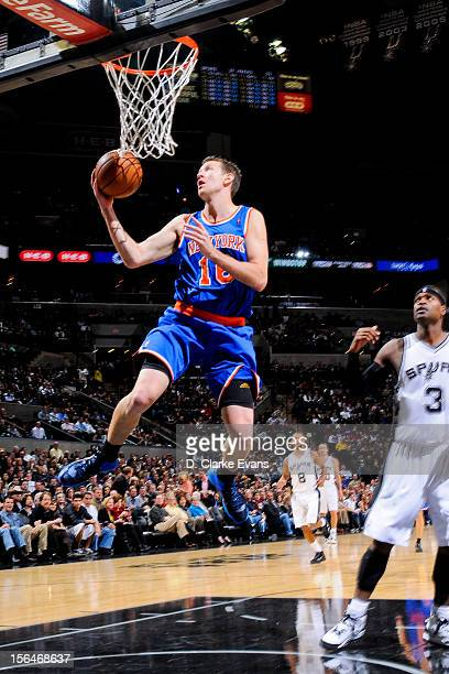 Steve Novak of the New York Knicks goes to the basket against the San Antonio Spurs on November 15 2012 at the ATT Center in San Antonio Texas NOTE...