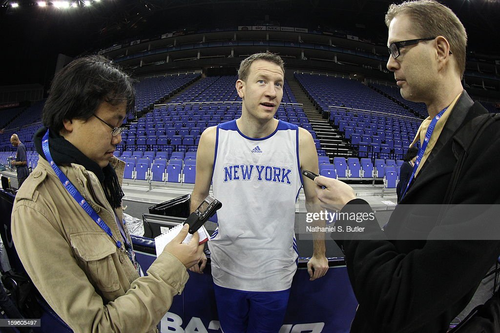 Steve Novak #16 of the New York Knicks meets with members of the media before practice at the 02 Arena on January 17, 2013 in London, England.