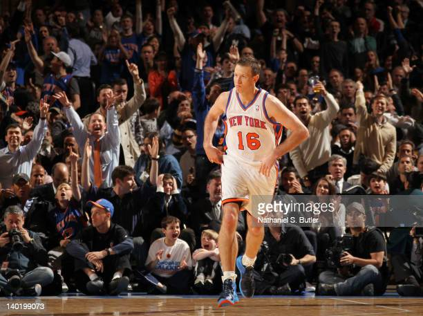 Steve Novak of the New York Knicks racts after hitting a three point shto during the fourth quarter against the Cleveland Cavaliers on February 29...
