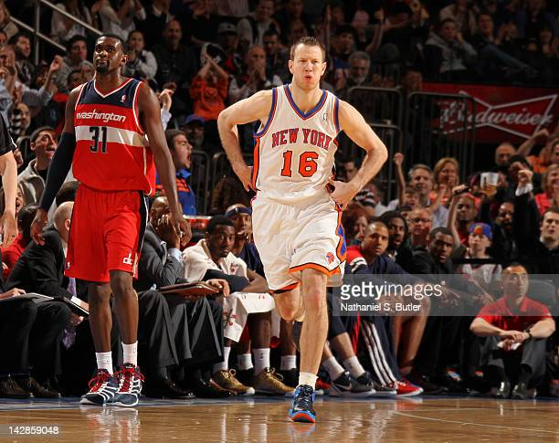 Steve Novak of the New York Knicks reacts after making a three pointer during the game against the Washington Wizards on April 13 2012 at Madison...