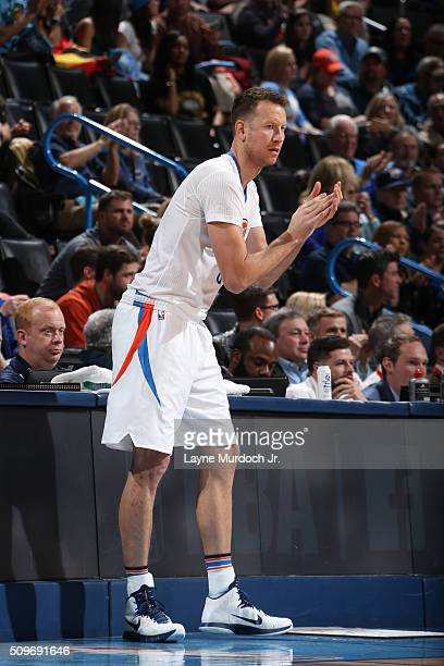 Steve Novak of the Oklahoma City Thunder are seen during the game against the New Orleans Pelicans on February 11 2016 at the Chesapeake Energy Arena...