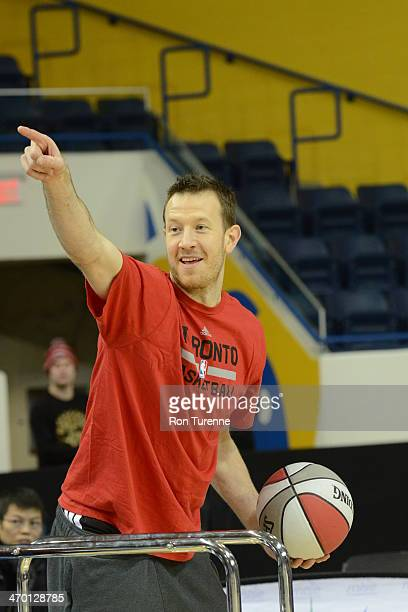 Steve Novak of the Toronto Raptors poses for pictures during the Toronto Raptors fan jam on February 9 2014 at the Air Canada Centre in Toronto...