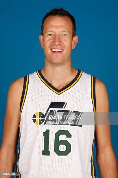 Steve Novak of the Utah Jazz poses for a portrait during the 2014 NBA Jazz Media Day at Zions Basketball Center on September 29 2014 in Salt Lake...